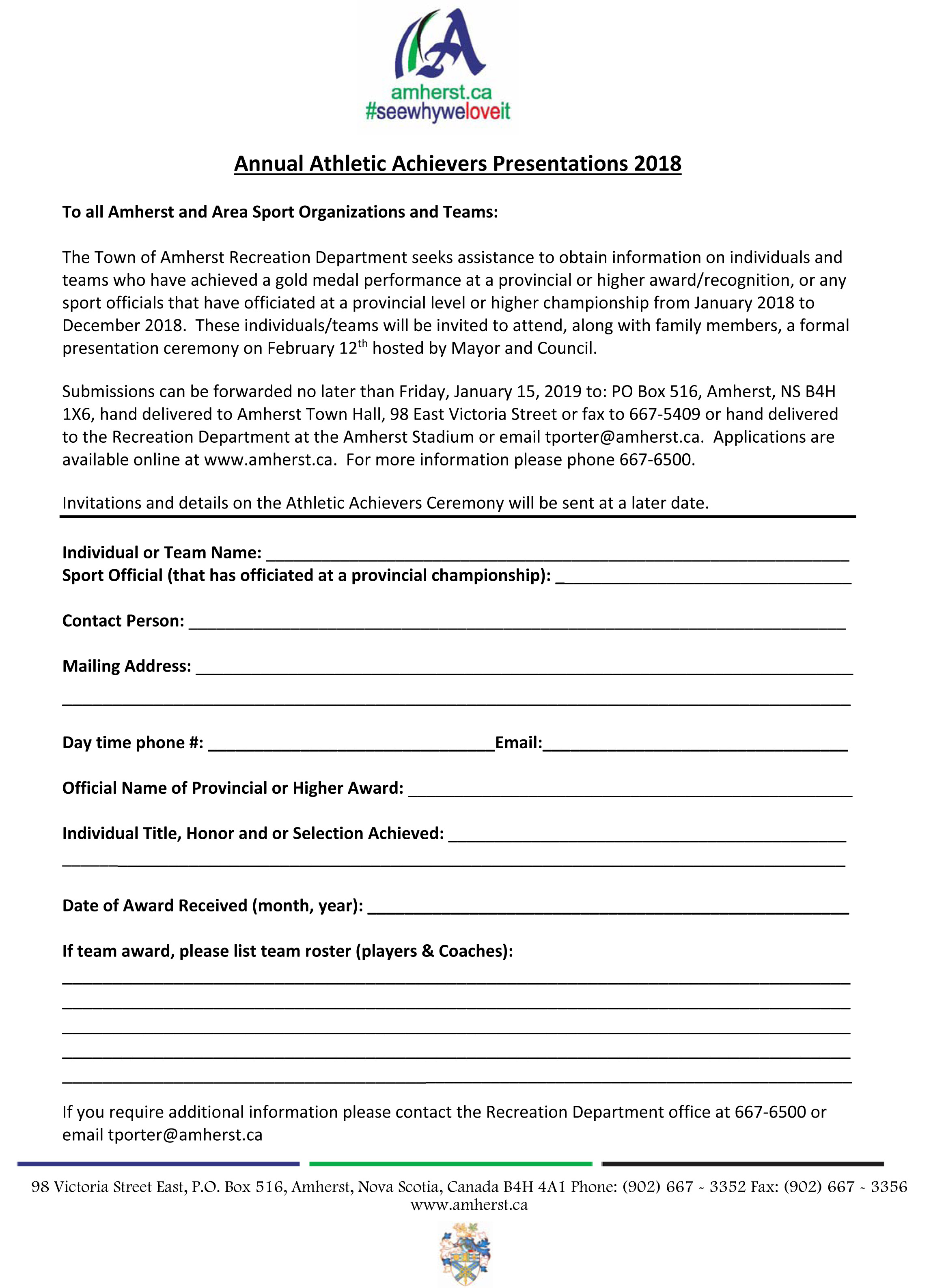 Athletic Achievers nomination form 2018