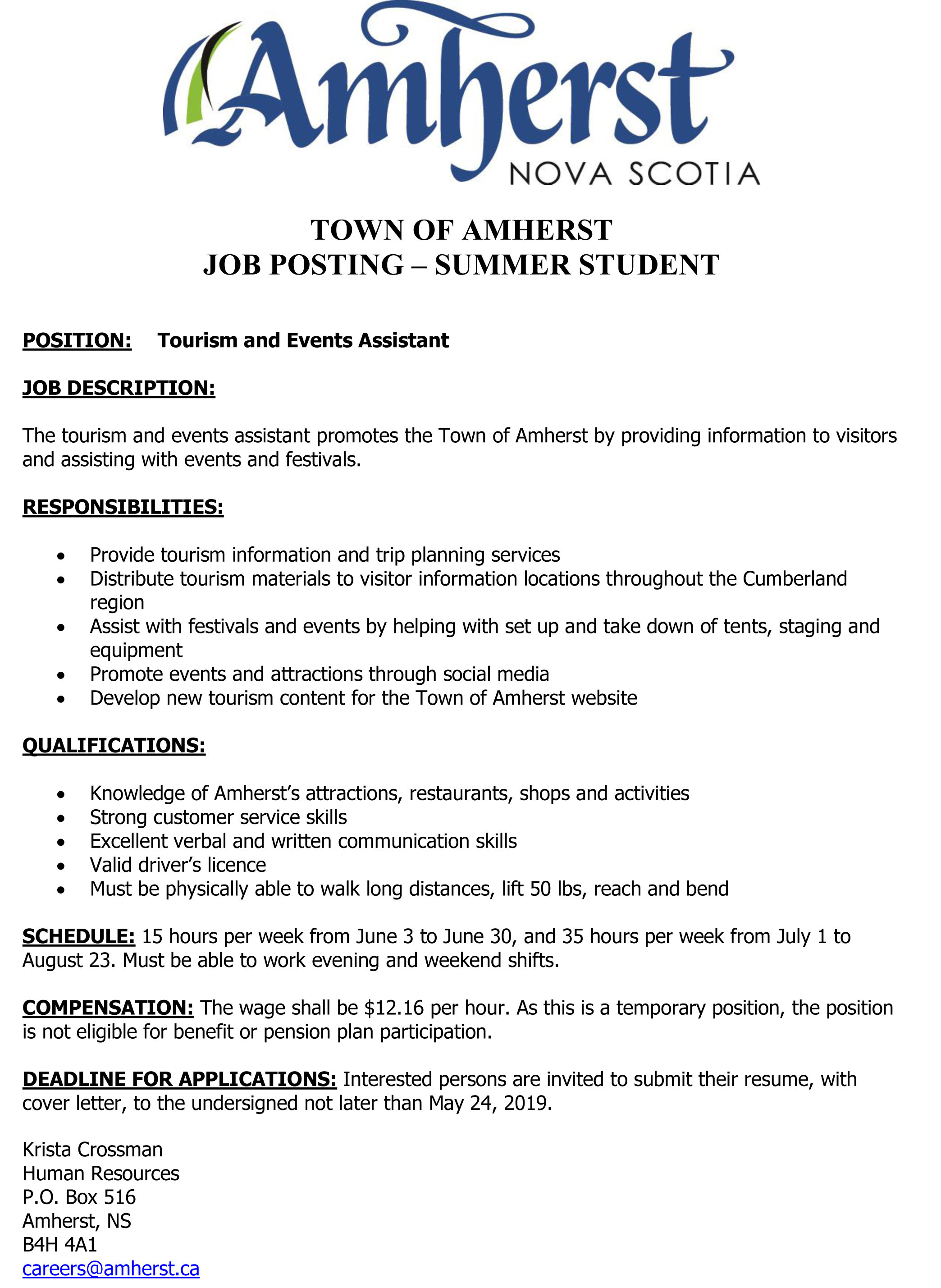 Tourism Summer Student Sought
